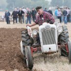 Jim Rochford from Wexford competes in the vintage 2 furrow trailer plough class.<span class=