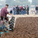 Jim Rochford from Wexford competes in the vintage 2 furrow trailer plough class..<span class=