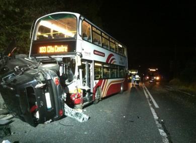 Bus Eireann bus and SUV on N2.