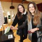 Feargal Quinn granddaughters vote at Burrow School in Sutton, Co Dublin.<span class=