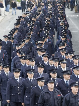 Scenes from the Bray firemen's funeral that took place in Bray in 2007.