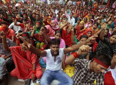 Hundreds of protesters participated in the demonstration to demand compensation for the victims and injured of the Rana Plaza building that collapsed killing more than 1,000 people earlier this year.