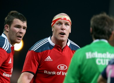 Peter O'Mahony and Paul O'Connell talk to referee Jerome Garces.