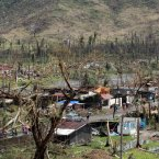 Typhoon Haiyan, the world's most powerful typhoon of the year, hit the Philippines on 8 November 2013, 4.30 am local time on Guiuan, Samar Island with winds of 235 kilometers per hour and 275 kilometer gusts.<span class=