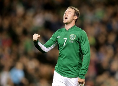 McGeady celebrates scoring last night.