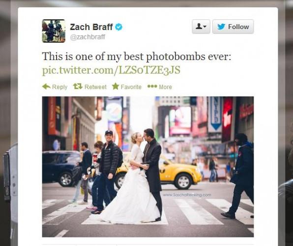 Zach Braff Photobombs The Best Wedding Photo Ever · The