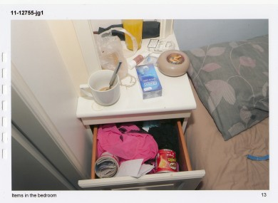 The side table in the bedroom of the Belfast apartment used as a brothel.