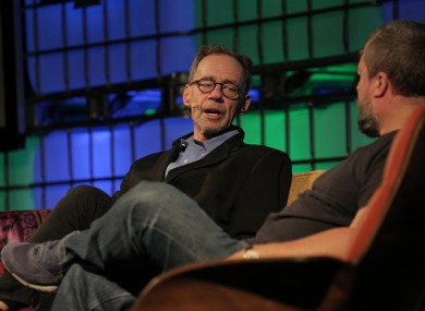 David Carr (left) on stage with Shane Smith at the Web Summit.