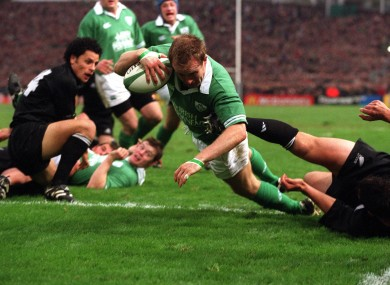 Denis Hickie dives over to score for Ireland against New Zealand in 2001.