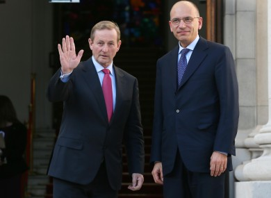 Enda Kenny with Enrico Letta at Government Buildings earlier today