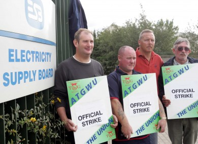 ESB network technicians protesting at the station in Finglas during a strike in 2005.