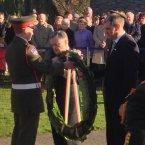 Brendan Howlin and Paul Kehoe lay a wreath <span class=