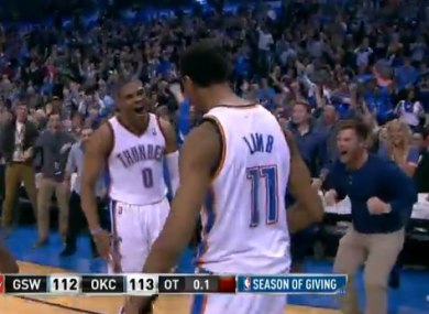 The OKC fan in the chinos could barely contain his joy.