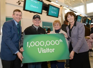 Leonie Higgins,second from right, was the one millionth Aer Lingus customer to arrive from the US this year.