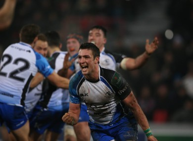 Connacht's Dave McSharry celebrates their stunning win in Toulouse.