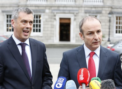 Colm Keaveney with Micheál Martin at Leinster House yesterday