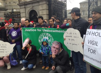 Protestors outside the Dáil yesterday