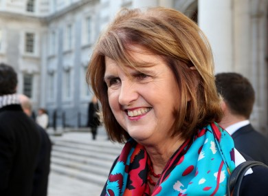 Joan Burton speaking to the media at Government Buildings yesterday.