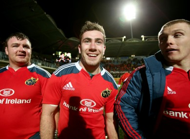 Dave Kilcoyne, JJ Hanrahan and Keith Earls soak up the applause in France.