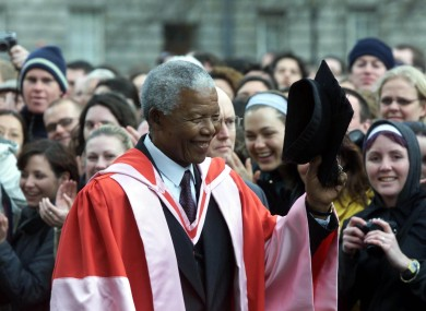 Nelson Mandela at Trinity College, Dublin in 2000, where he was conferred with an Honorary Degree