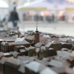 A model of Zagreb in the Croatian city - it is a bronze cast of city blocks with the centre of the sphere engraved with