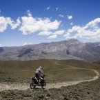 KTM rider Alain Hermet of France races during the third stage of the Dakar Rally between the cities of San Rafael and San Juan, Argentina. <span class=