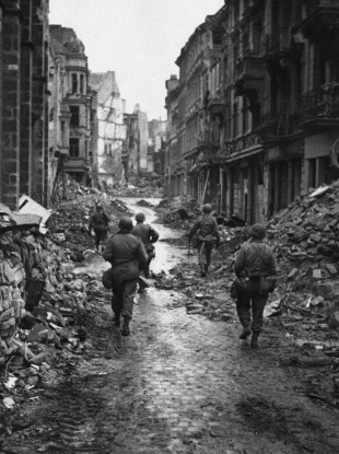 A badly-bombed Bonn in 1945 - today's blast happened in nearby town Euskirchen.