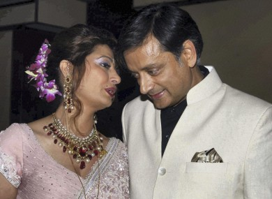 Indian Junior Foreign Minister Shashi Tharoor and his wife Sunanda Pushkar pictured in 2010