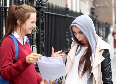Fiona Fogarty shows her sister Emma her Junior Cert results