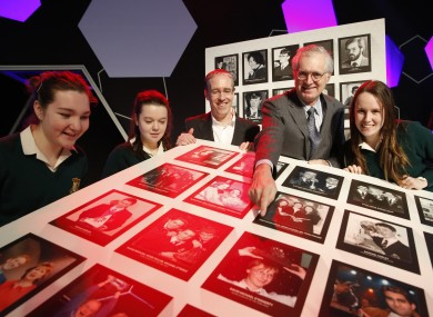 John Monahan, first ever winner of the BT Young Scientist and Technology Exhibition in 1964 (right); Colm O'Neill, CEO of BT Ireland; students (L to R) Sophie Ni Leathobhair (15), Fiona Nic Gemhna (15) and Sinead Daltuin (15).