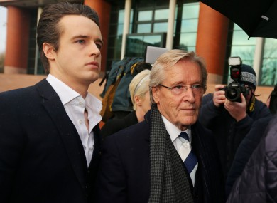 Coronation Street actor William Roache who plays Ken Barlow, arrives with his son James at Preston Crown Court this morning.