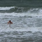 Dave Moriarty, from Malahide, takes his annual New Year's Day dip on Portamarnock beach, Dublin.<span class=