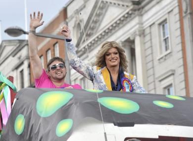 Panti (right) at the Dublin Pride Parade in 2010.
