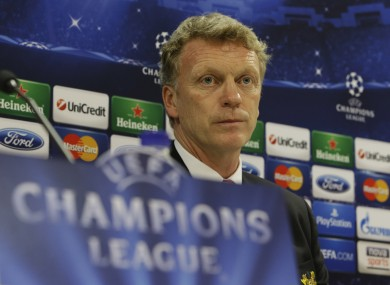 United's coach David Moyes attends a news conference at Georgios Karaiskakis stadium.