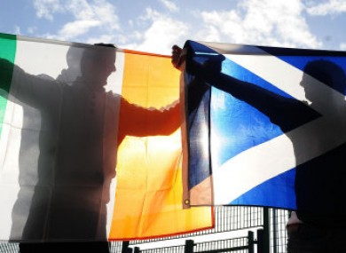 Ireland and Scotland fans show there support prior to the RBS 6 Nations match at Murrayfield.