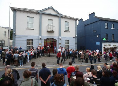 Crowds outside Athlone Court House last September during the accused's hearing.