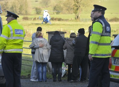 Relatives of Ciaran Noonan at the scene where his body was discovered