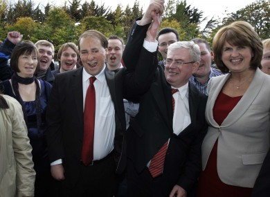 Patrick Nulty celebrates his October 2011 success with Eamon Gilmore and Joan Burton. He was expelled from the party six weeks later