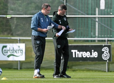 Roy Keane and Martin O'Neill pictured during training earlier today.