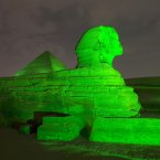 The Pyramids of Giza and the Sphinx joined the celebrations. <span class=