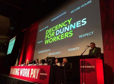 Launching of the Decency for Dunnes Workers Campaign at Mandate's Biennial Delegate Conference in Killarney, Co. Kerry.