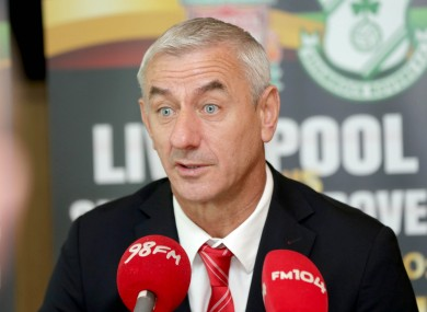Rush talking to the media at an event promoting Liverpool's match against Shamrock Rovers in Dublin on 14 May.