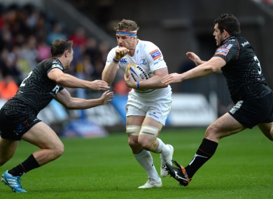 Jamie Heaslip leads the charge for Leinster at Liberty Stadium.