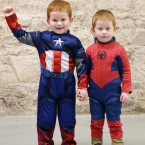 Jamie Moran (left, 4) as Captain America and Luke Moran (3) as Spiderman.<span class=