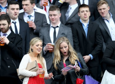 College students check the form at Leopardstown.