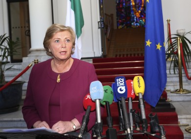 Frances Fitzgerald at her first press conference in Government Buildings today