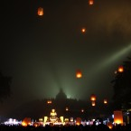 Buddhists fly lanterns during a celebration of Vesak day, which marks the birth, enlightenment, and death of Buddha, at Borobudur temple in Magelang, Central Java, Indonesia.<span class=