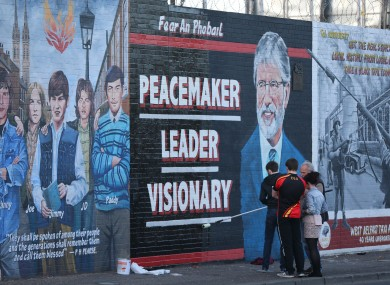 A new mural dedicated to Gerry Adams which was painting following his arrest on Wednesday.