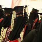 Yemeni female university students celebrate during their graduation ceremony in Sanaa, Yemen. According to the government, the illiteracy rate in Yemen stands at 70 percent in the countryside, and in the cities up to 38 percent. Traditionally, female Yemenis rarely study past primary school. Lately, however, girls in larger cities like Sanaa are finishing high school, with some going on to third level education. <span class=