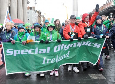 Representatives of the Special Olympics Ireland participate in the 'Peoples Parade' ahead of the main St Patrick's Day Parade in Dublin.